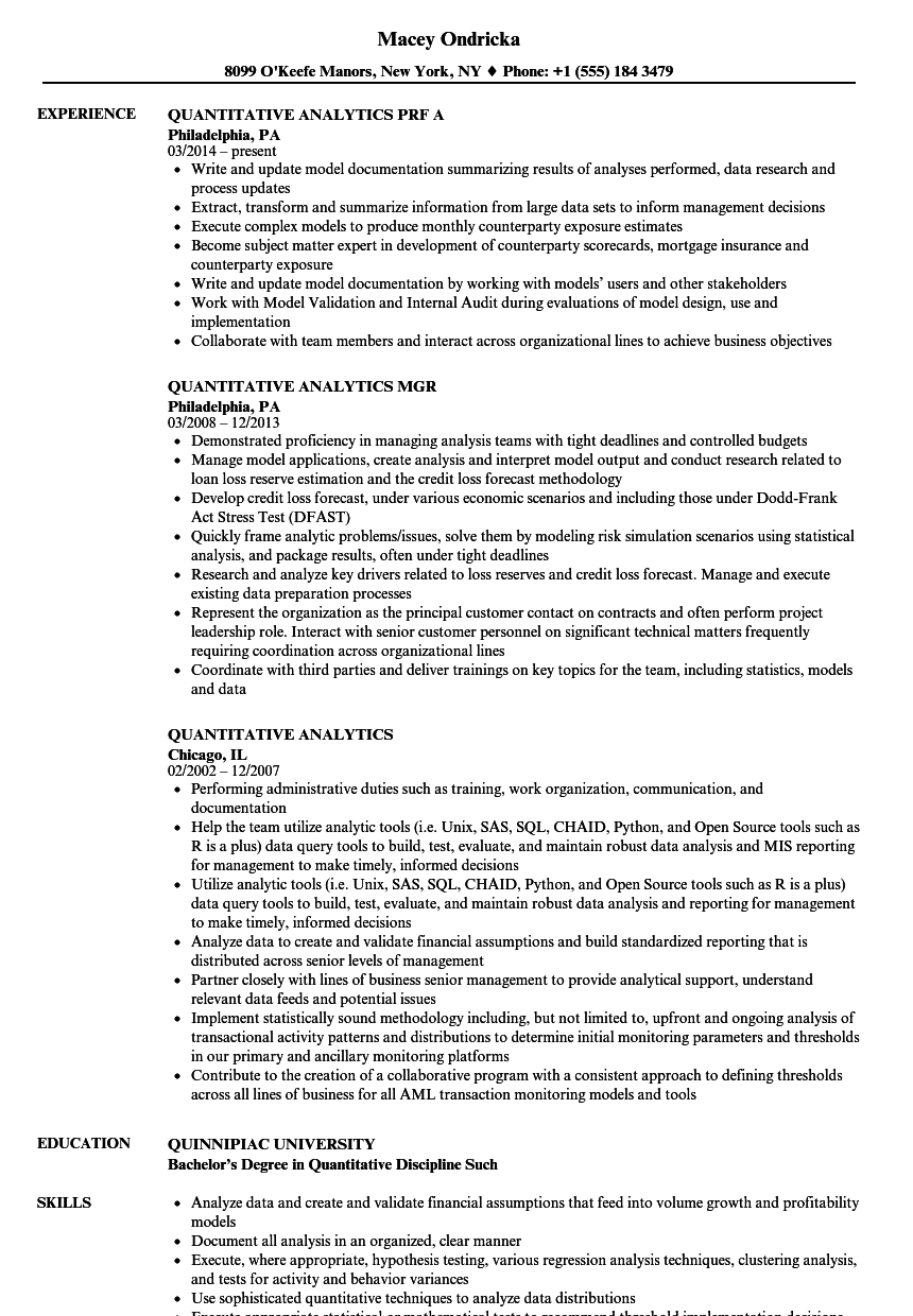 Quantitative Analytics Resume Samples | Velvet Jobs