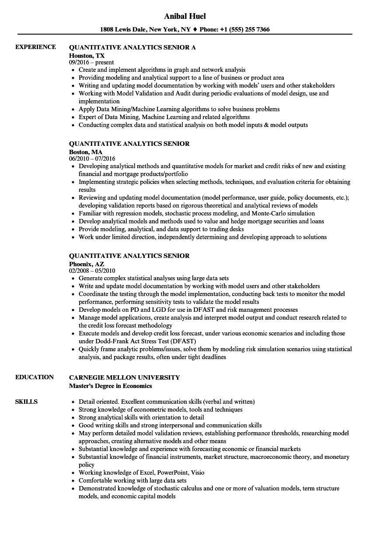 quantitative analytics senior resume samples