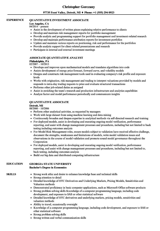quantitative associate resume samples