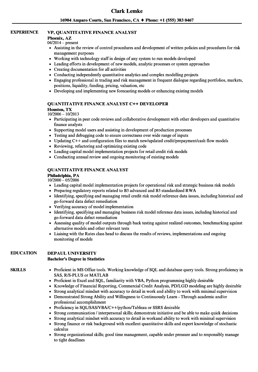 quantitative finance analyst resume samples