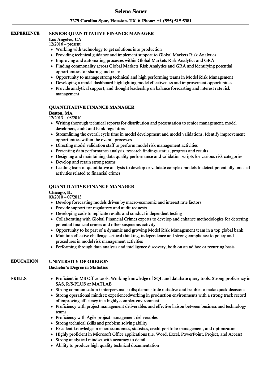 Quantitative Finance Manager Resume Samples | Velvet Jobs