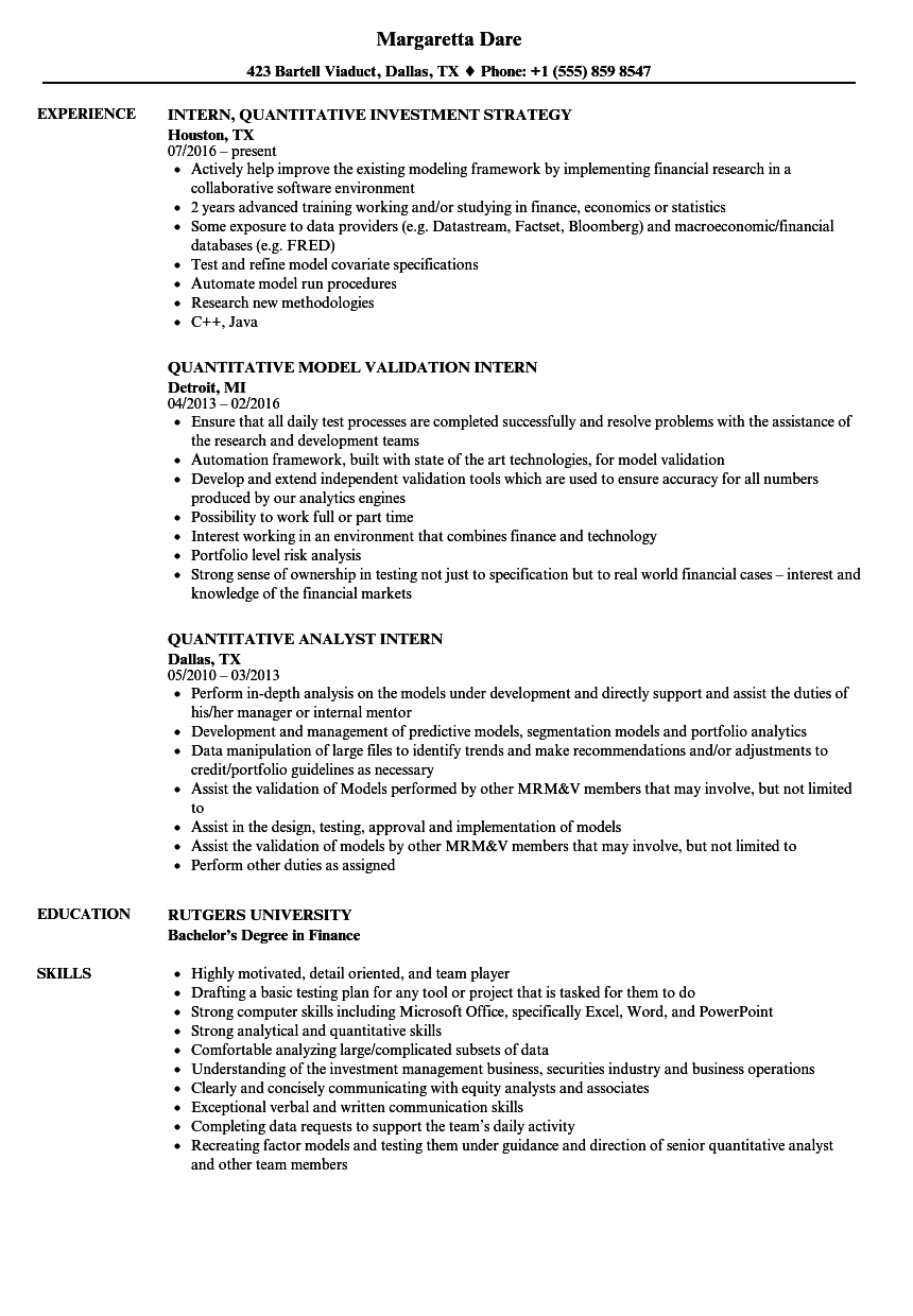 quantitative intern resume samples
