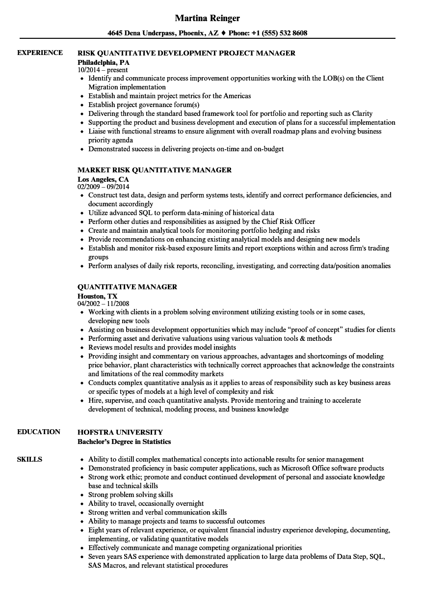 Quantitative Manager Resume Samples | Velvet Jobs