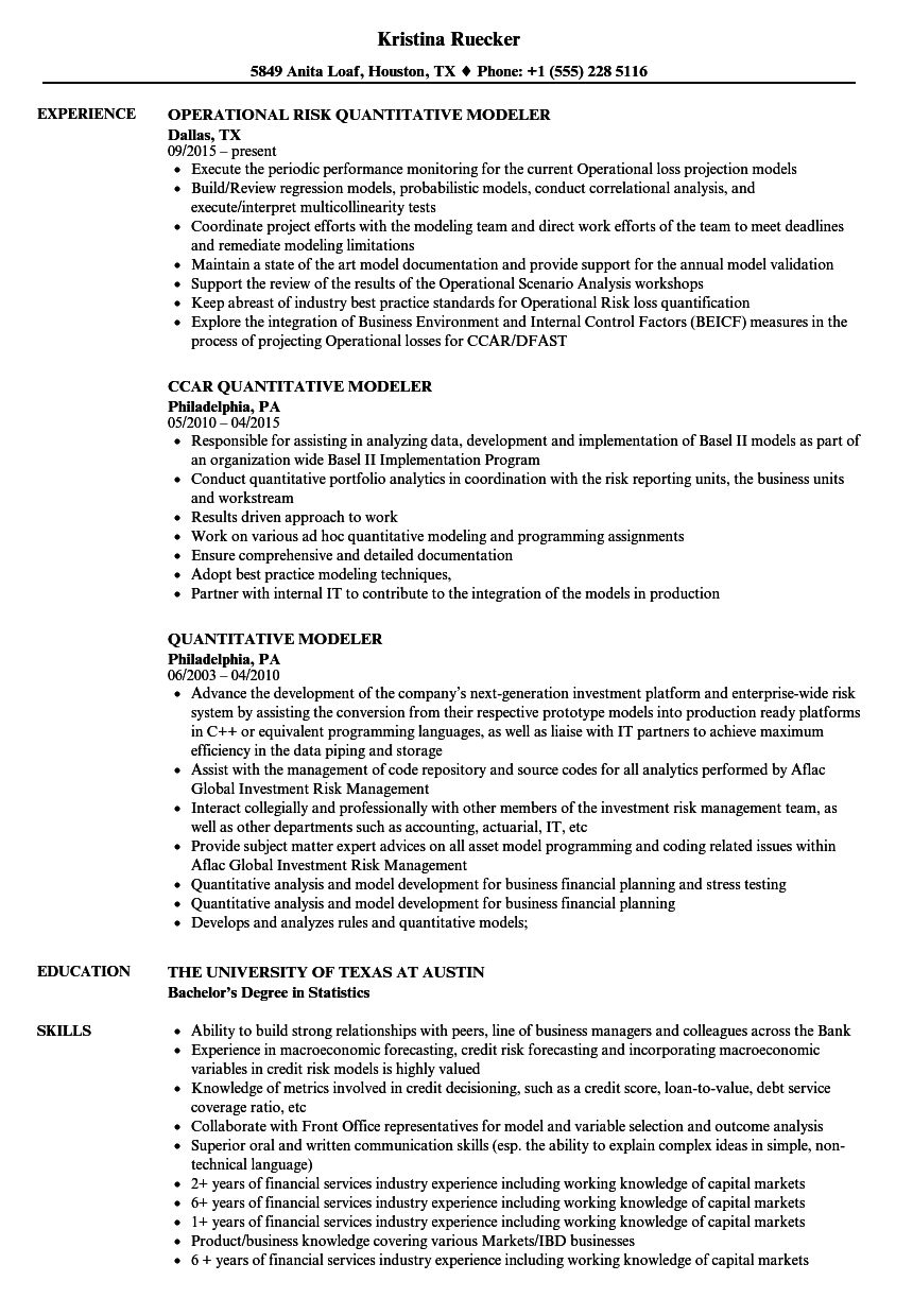 quantitative modeler resume samples