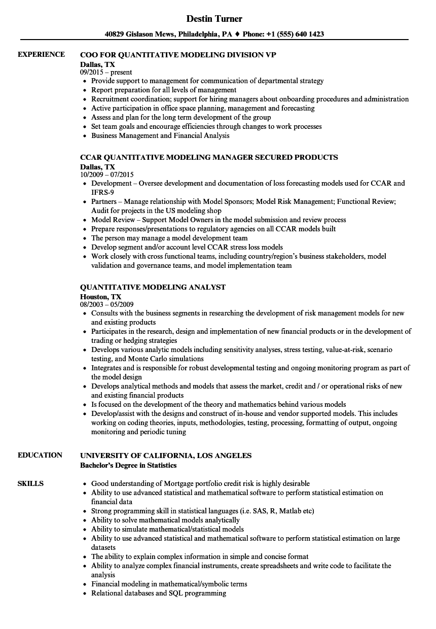 quantitative modeling resume samples