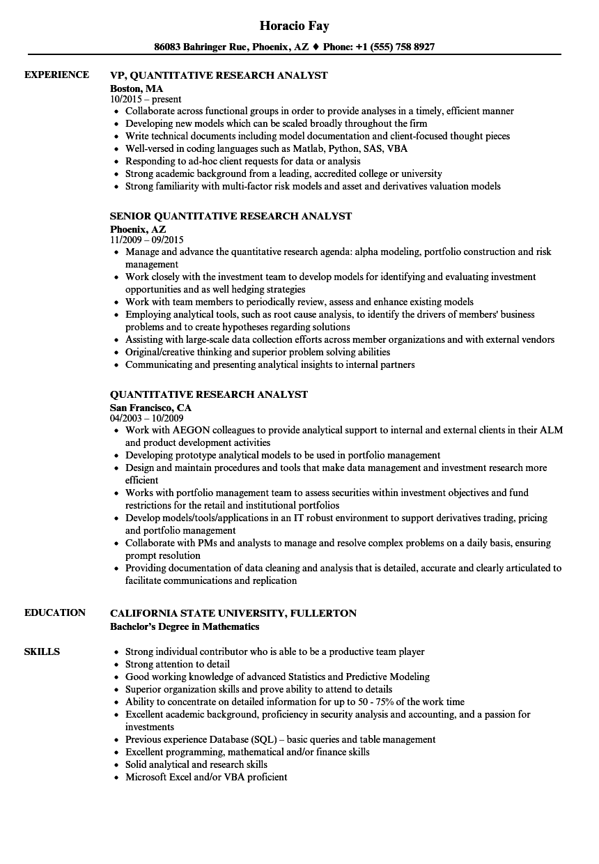 quantitative research analyst resume samples