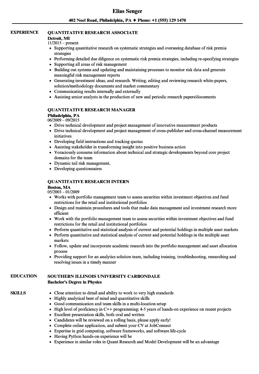 quantitative research resume samples