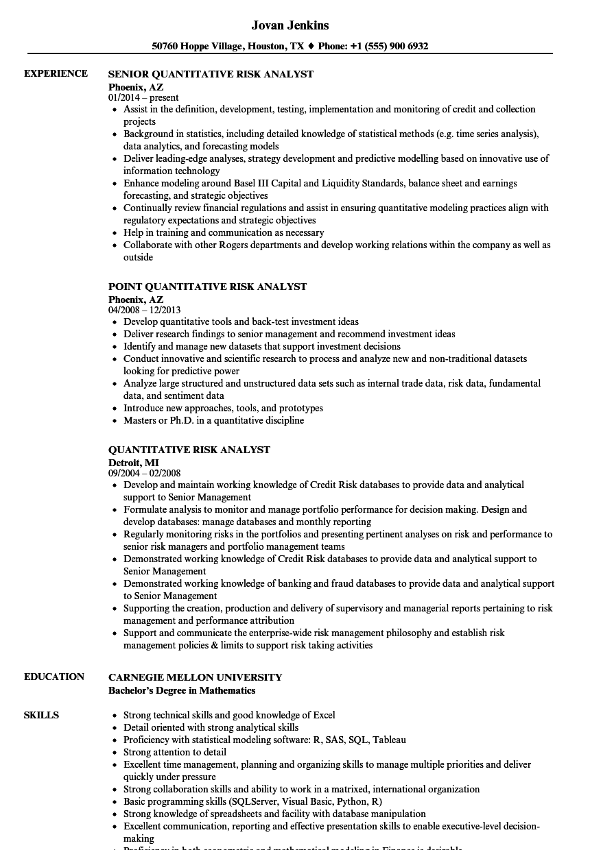 quantitative risk analyst resume samples