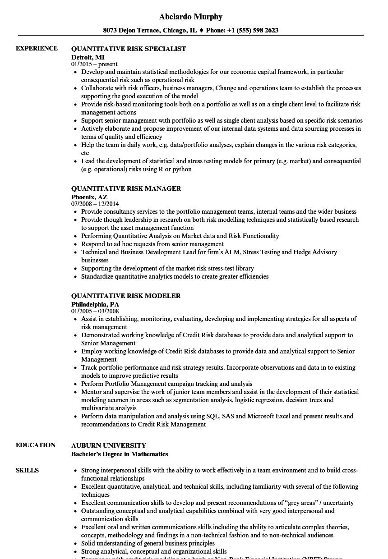 quantitative risk resume samples