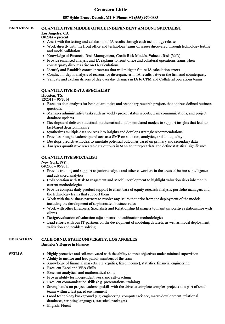 Quantitative Specialist Resume Samples | Velvet Jobs