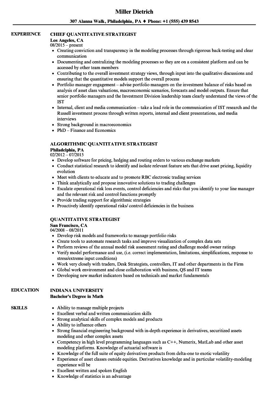 quantitative strategist resume samples