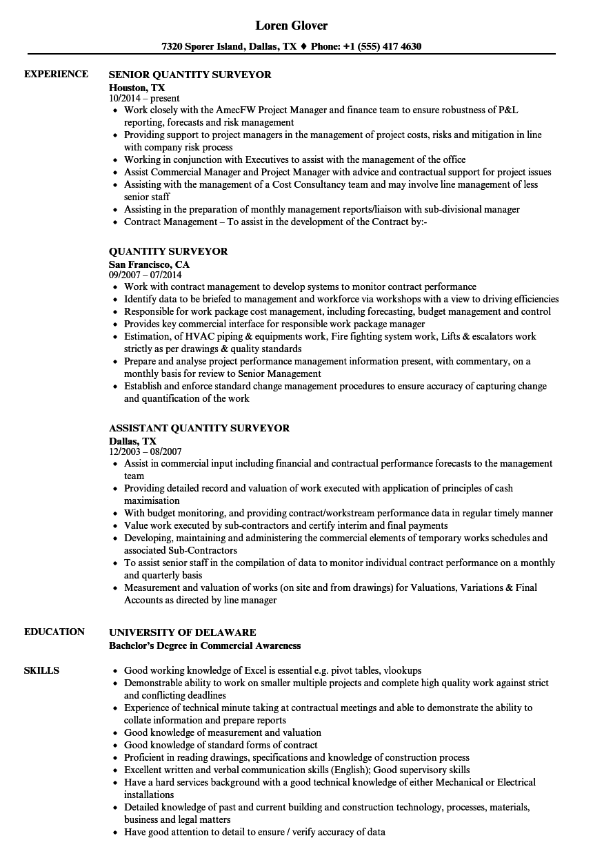 resume sample quantity surveyor