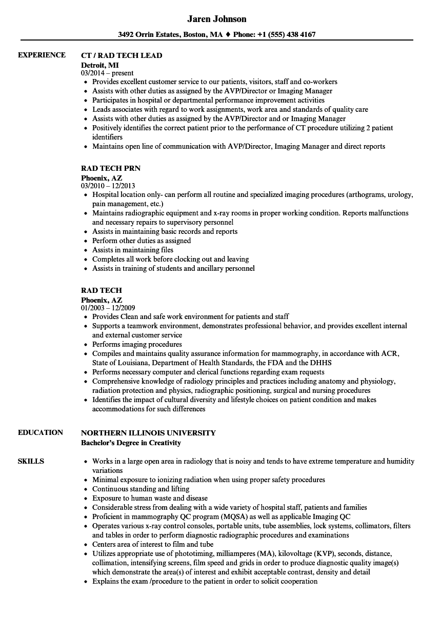 Velvet Jobs  Rad Tech Resume