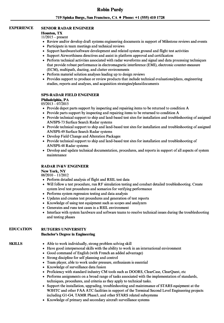 Download Radar Engineer Resume Sample As Image File