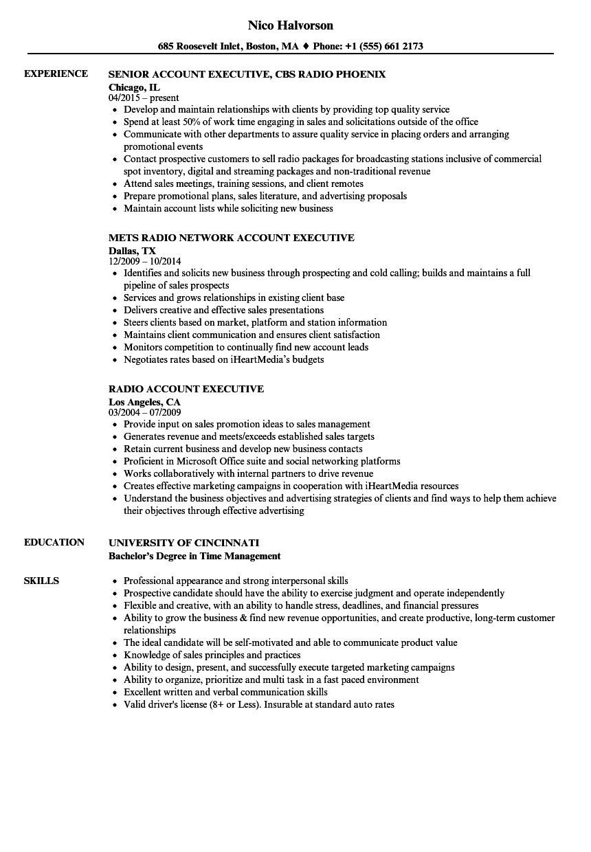 download radio account executive resume sample as image file - Account Executive Resume Sample
