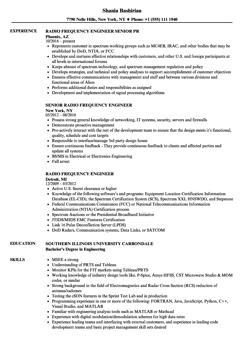radio frequency engineer resume samples