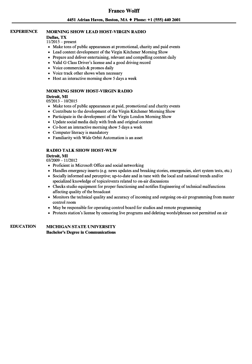 Download Radio Host Resume Sample As Image File
