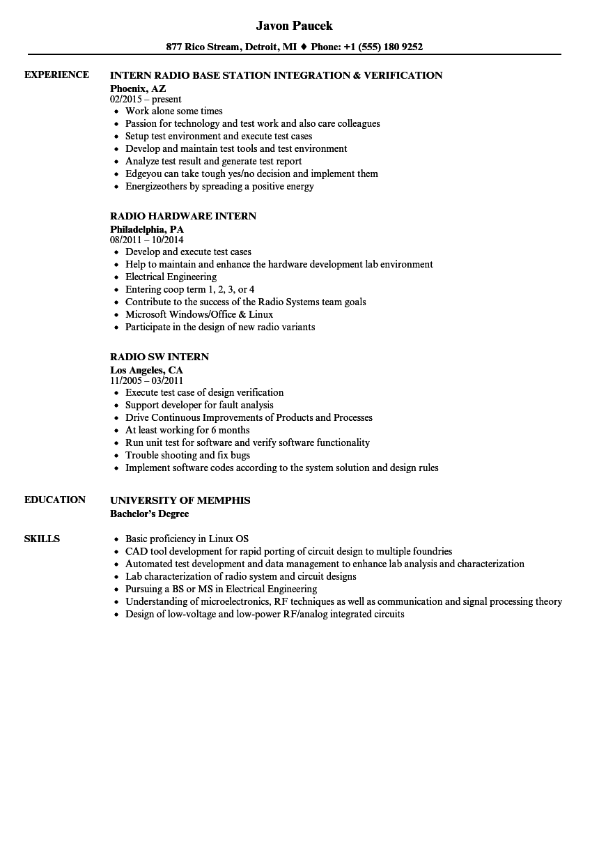 radio intern resume samples