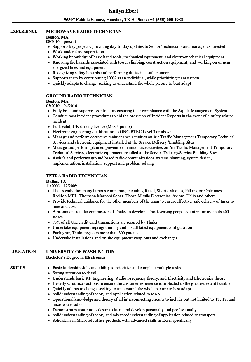 Radio Technician Resume Samples | Velvet Jobs