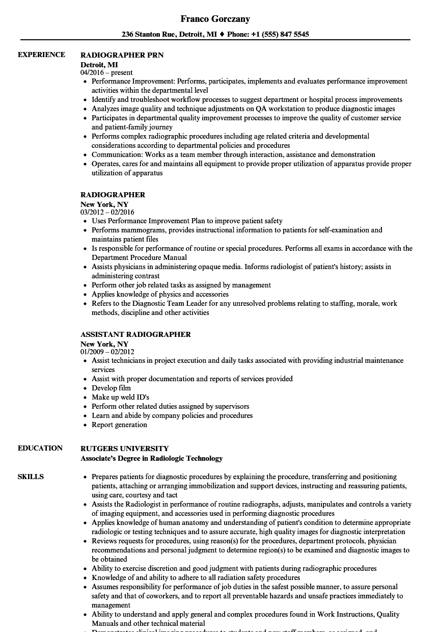 Radiographer Resume Samples   Velvet