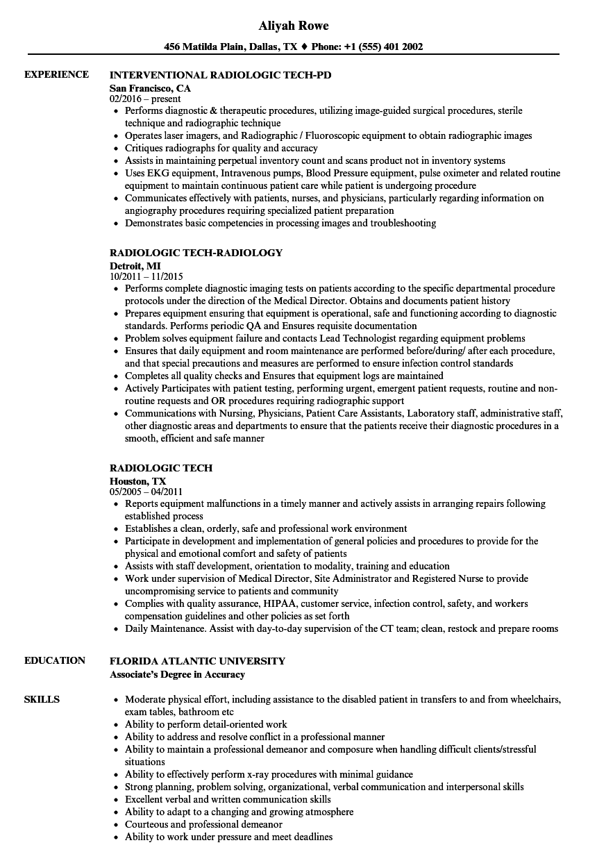 Radiologic Tech Resume Samples | Velvet Jobs