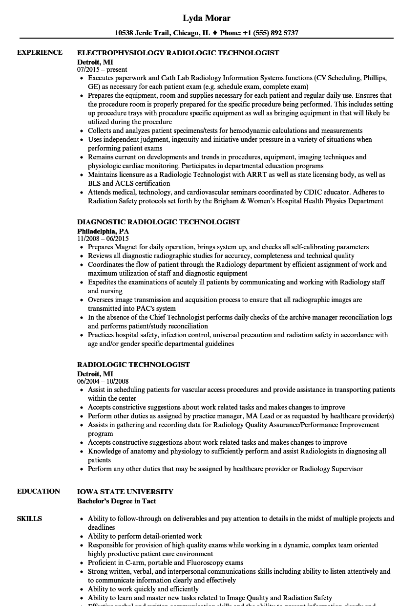 sample resume for radiologic technologist