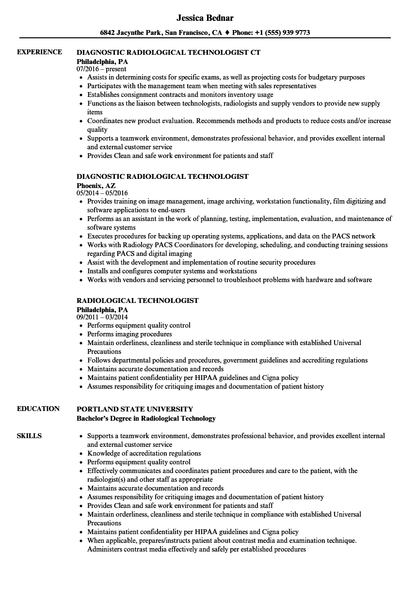 Download Radiological Technologist Resume Sample As Image File