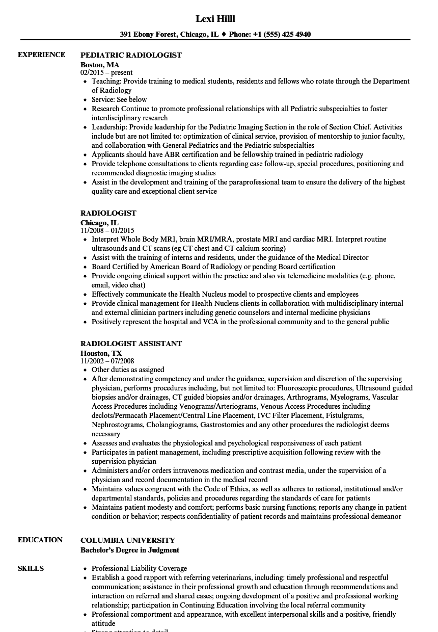 radiologist resume samples velvet jobs