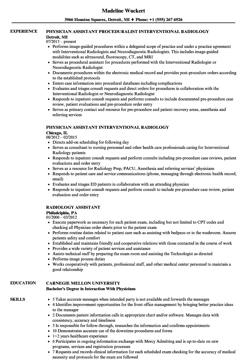 radiology assistant resume samples