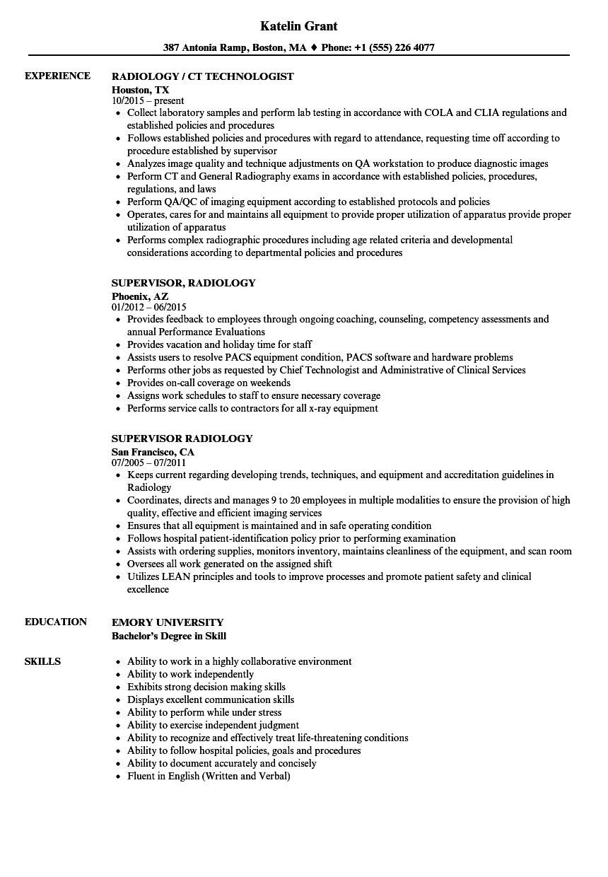 Radiology Resume Samples Velvet Jobs