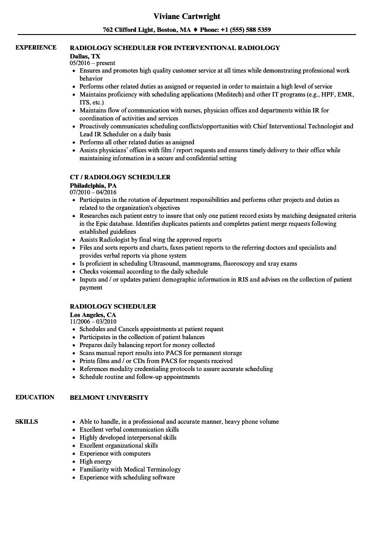 Radiology Scheduler Resume Samples | Velvet Jobs