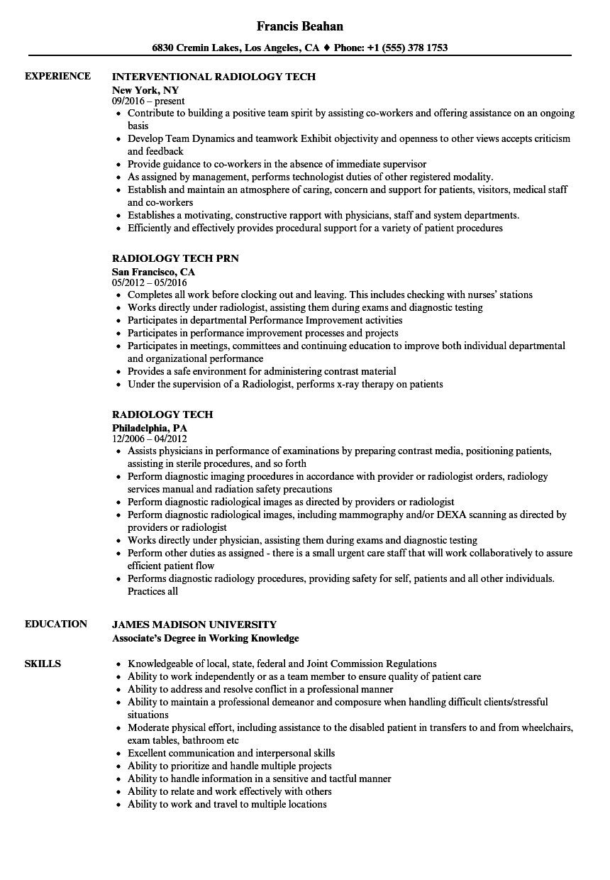resume for x ray technologist