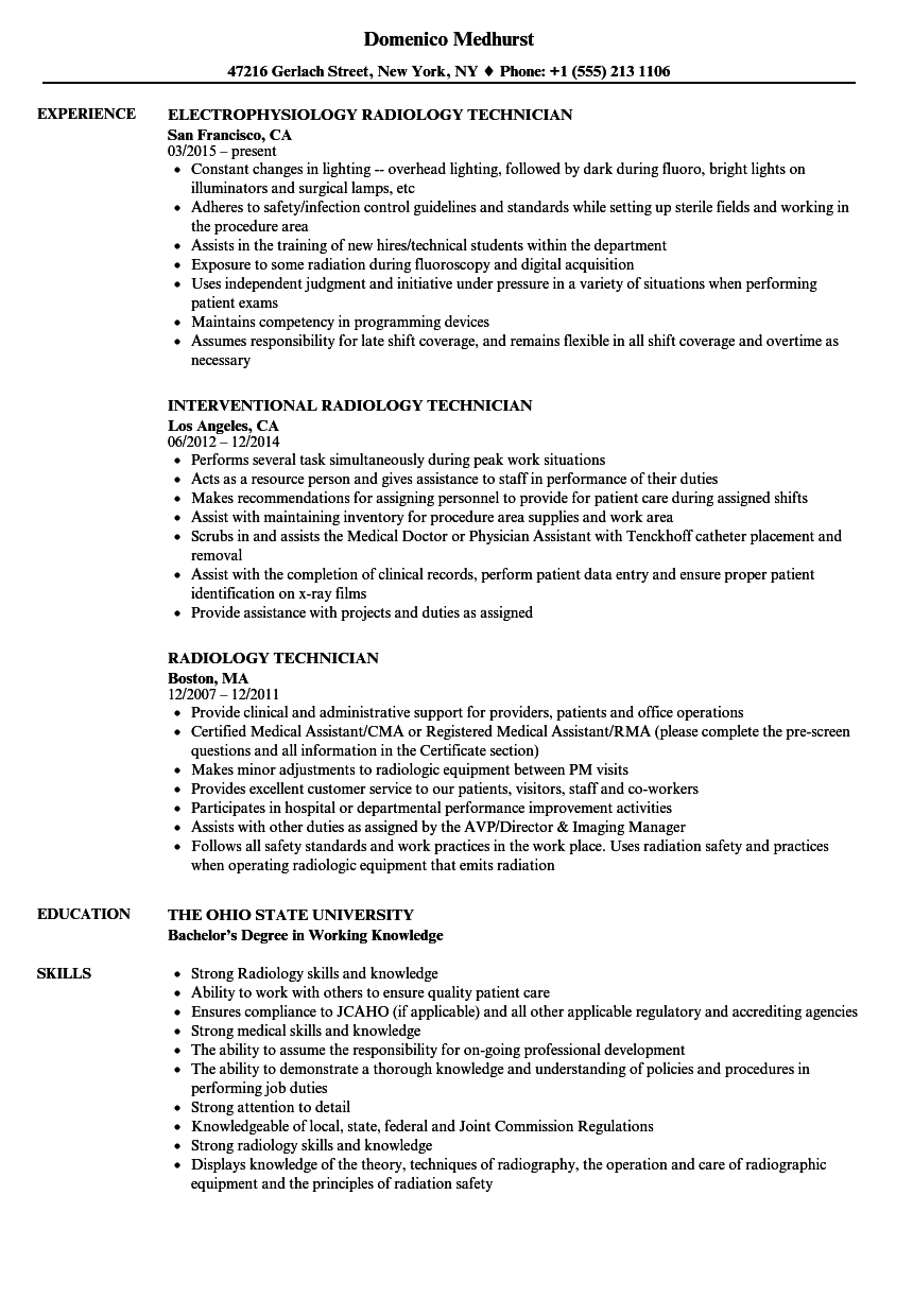 Radiology Technician Resume Samples