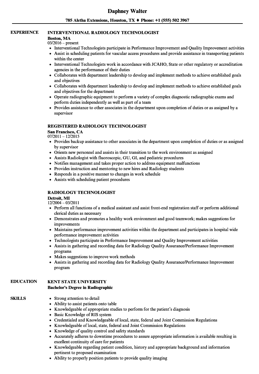 Download Radiology Technologist Resume Sample As Image File