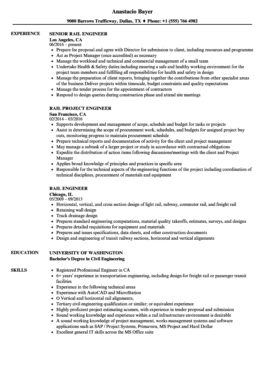 Rail Engineer Resume Samples | Velvet Jobs