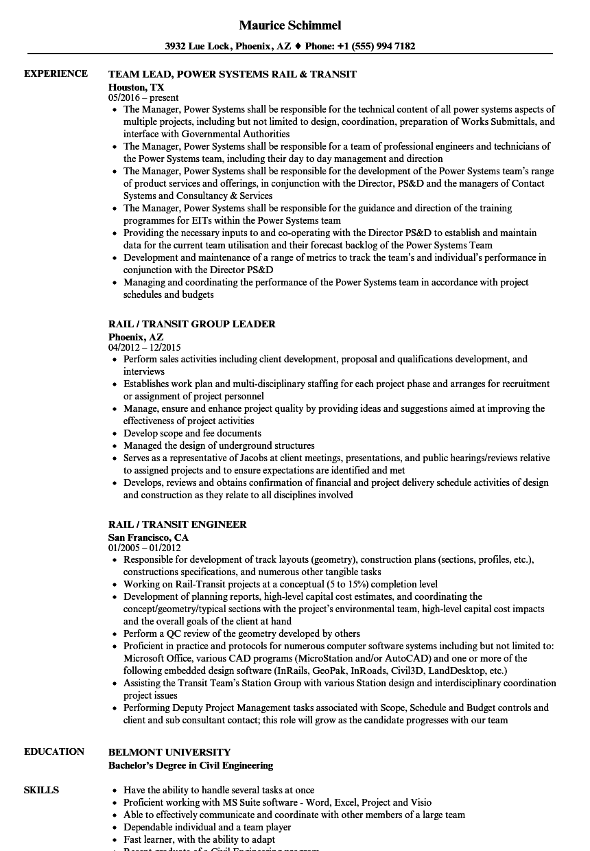 Rail & Transit Resume Samples | Velvet Jobs