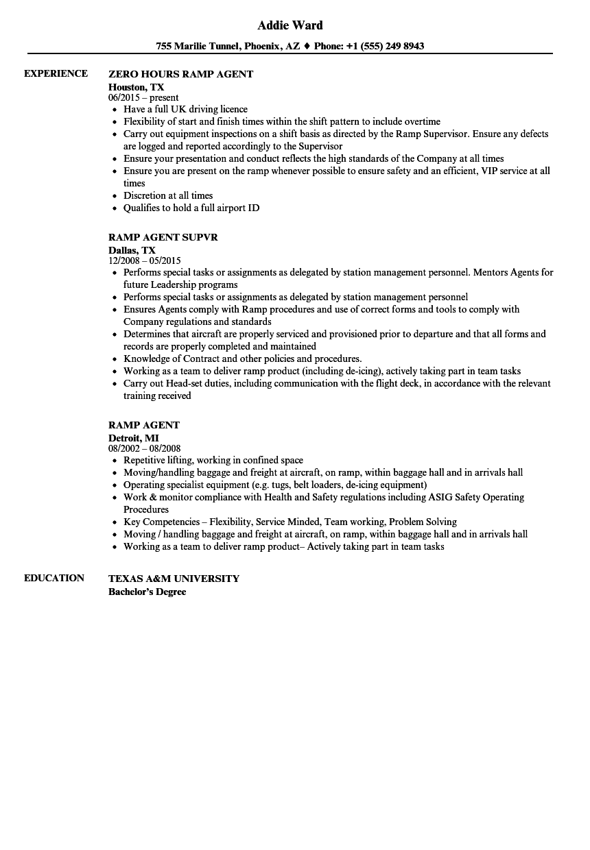 ramp agent resume samples