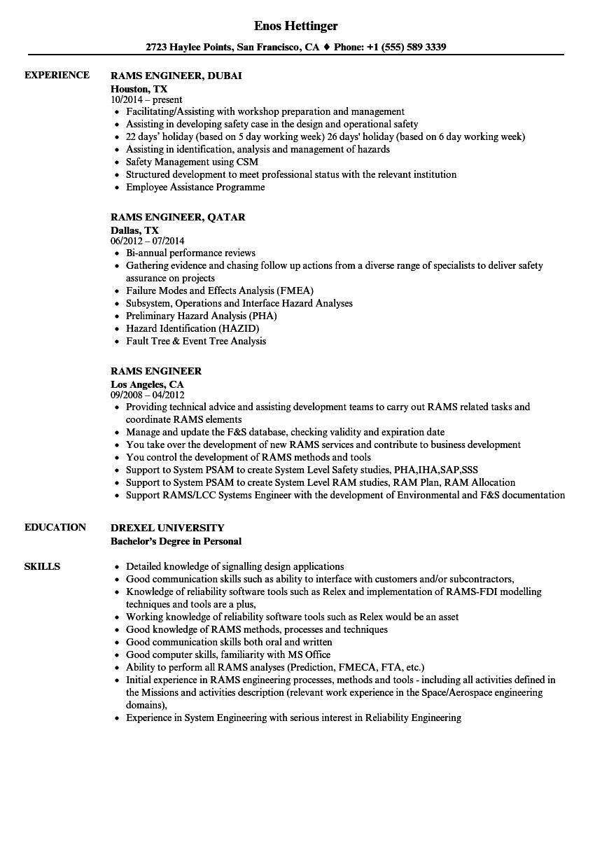 Rams Engineer Resume Samples | Velvet Jobs