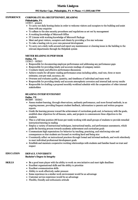 reading resume samples