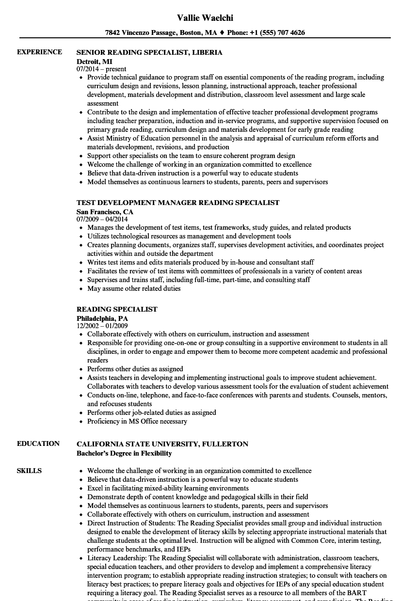 Reading Specialist Resume Samples Velvet Jobs