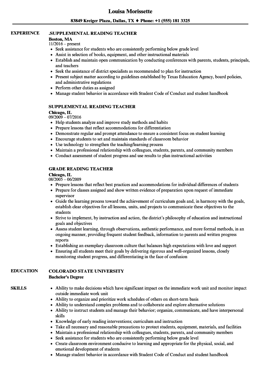 reading teacher resume samples velvet jobs