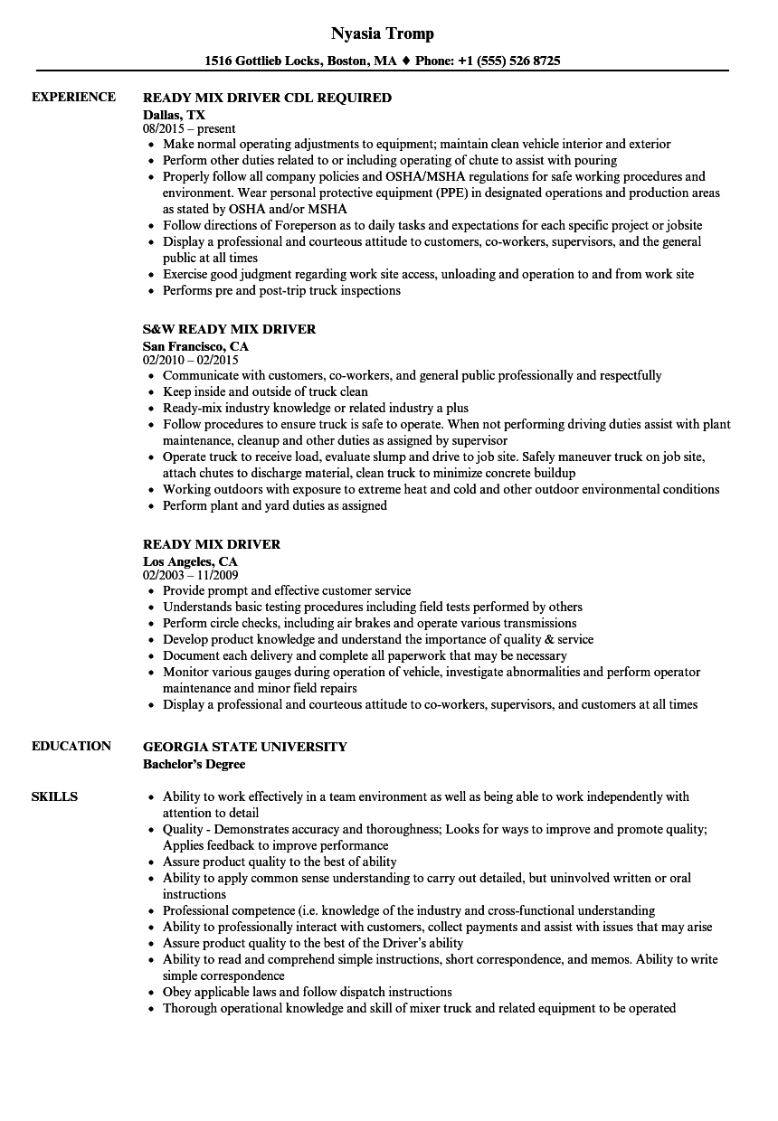 ready mix driver resume samples