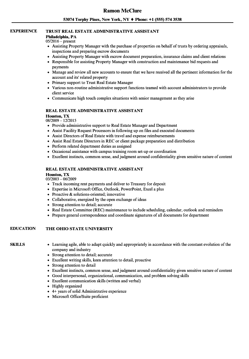 Download Real Estate Administrative Assistant Resume Sample As Image File