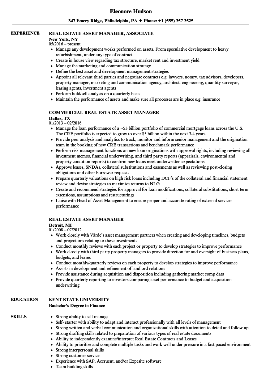 download real estate asset manager resume sample as image file - Asset Manager Resume Sample