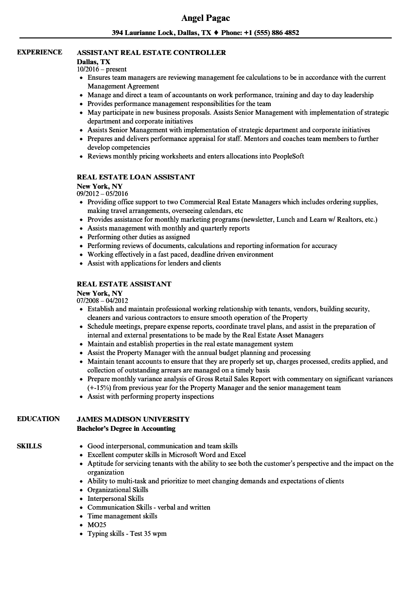 download real estate assistant resume sample as image file - Real Estate Assistant Resume