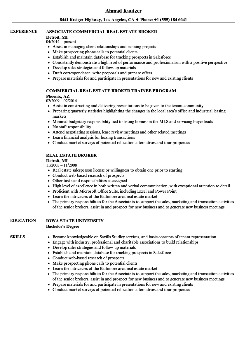 Real Estate Broker Resume Samples | Velvet Jobs