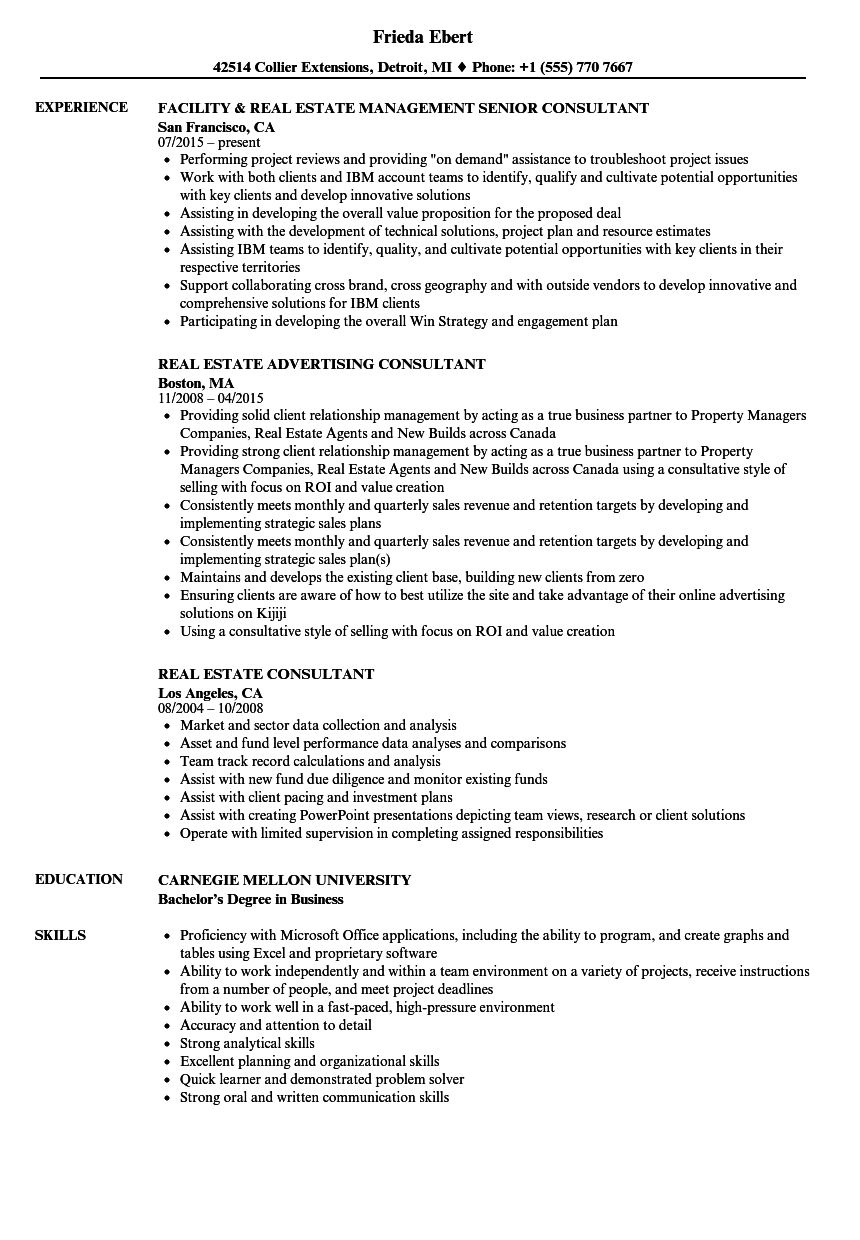 Real Estate Consultant Resume Samples | Velvet Jobs