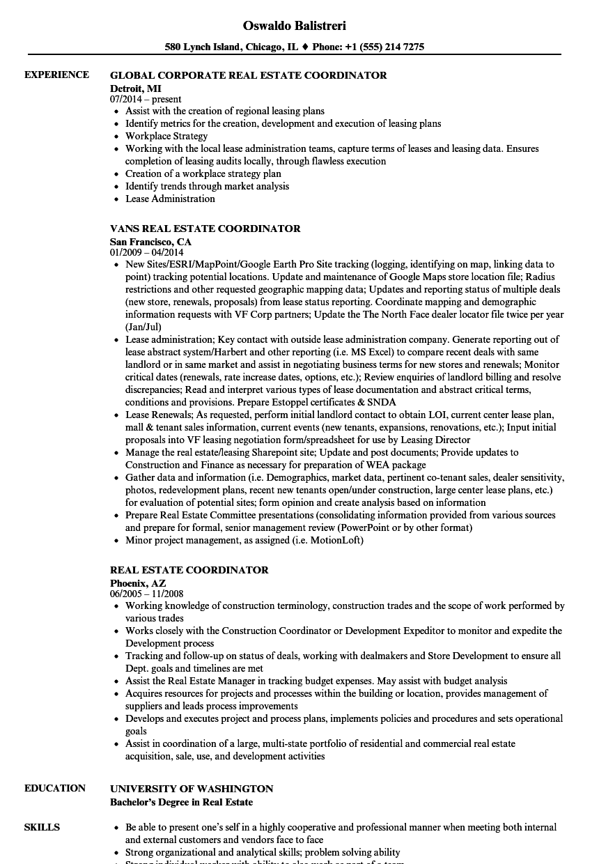 Real Estate Coordinator Resume Samples | Velvet Jobs