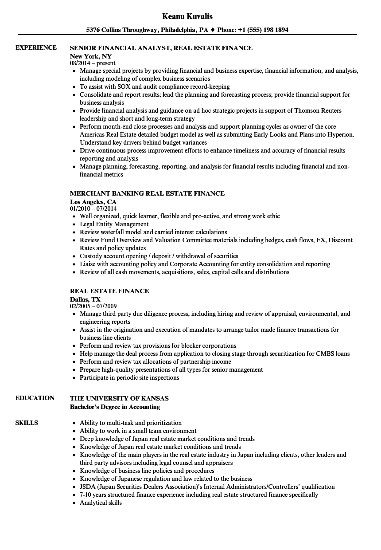 real estate finance resume samples