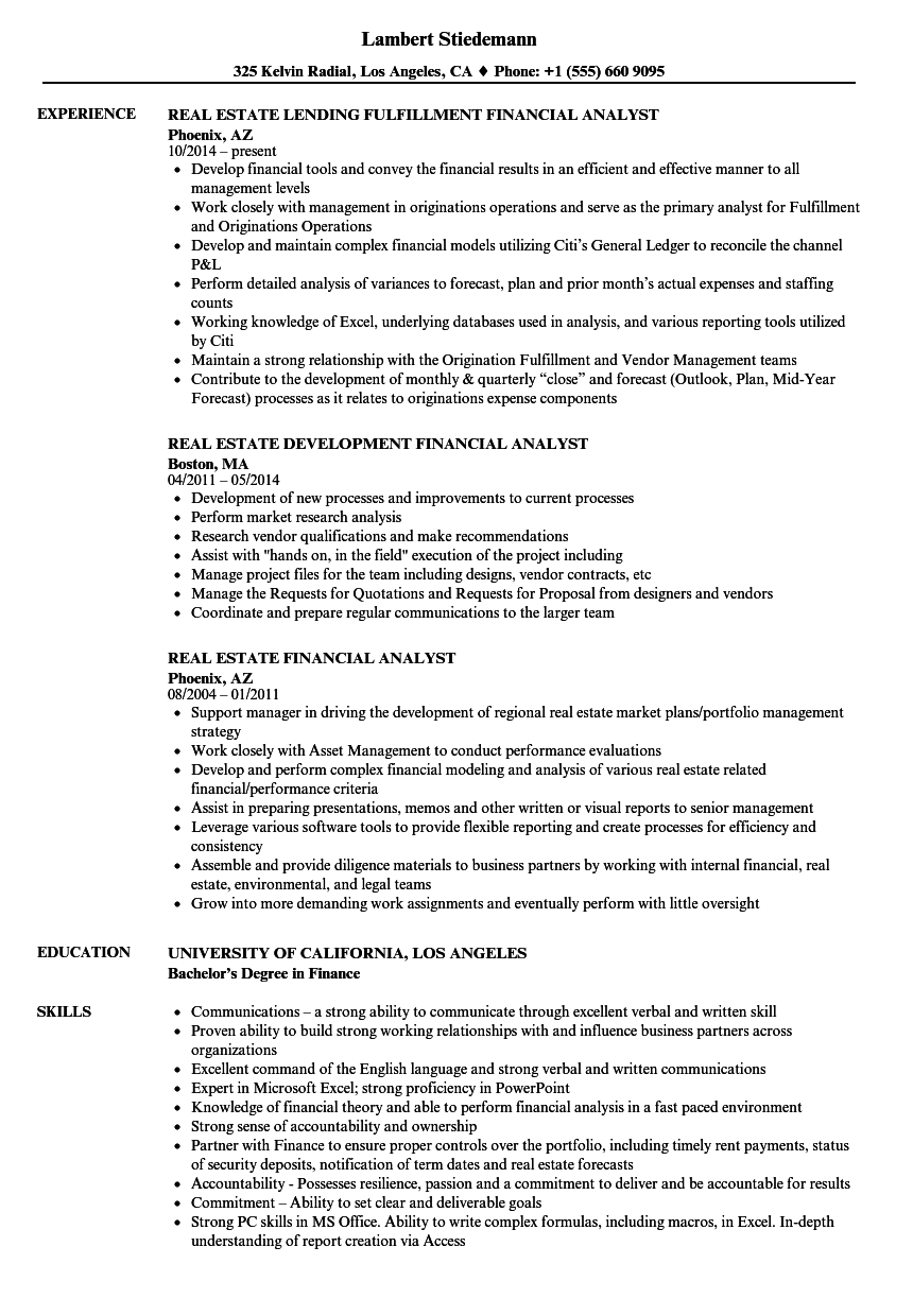 Real Estate Financial Analyst Resume Samples | Velvet Jobs